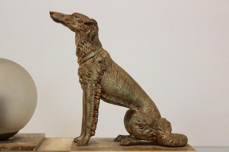 Art Deco French Greyhound Sculpture Table Lamp 9