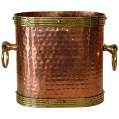 Art Deco French Hand-Hammered Copper, Brass & Bronze Champagne, Wine Ice Bucket