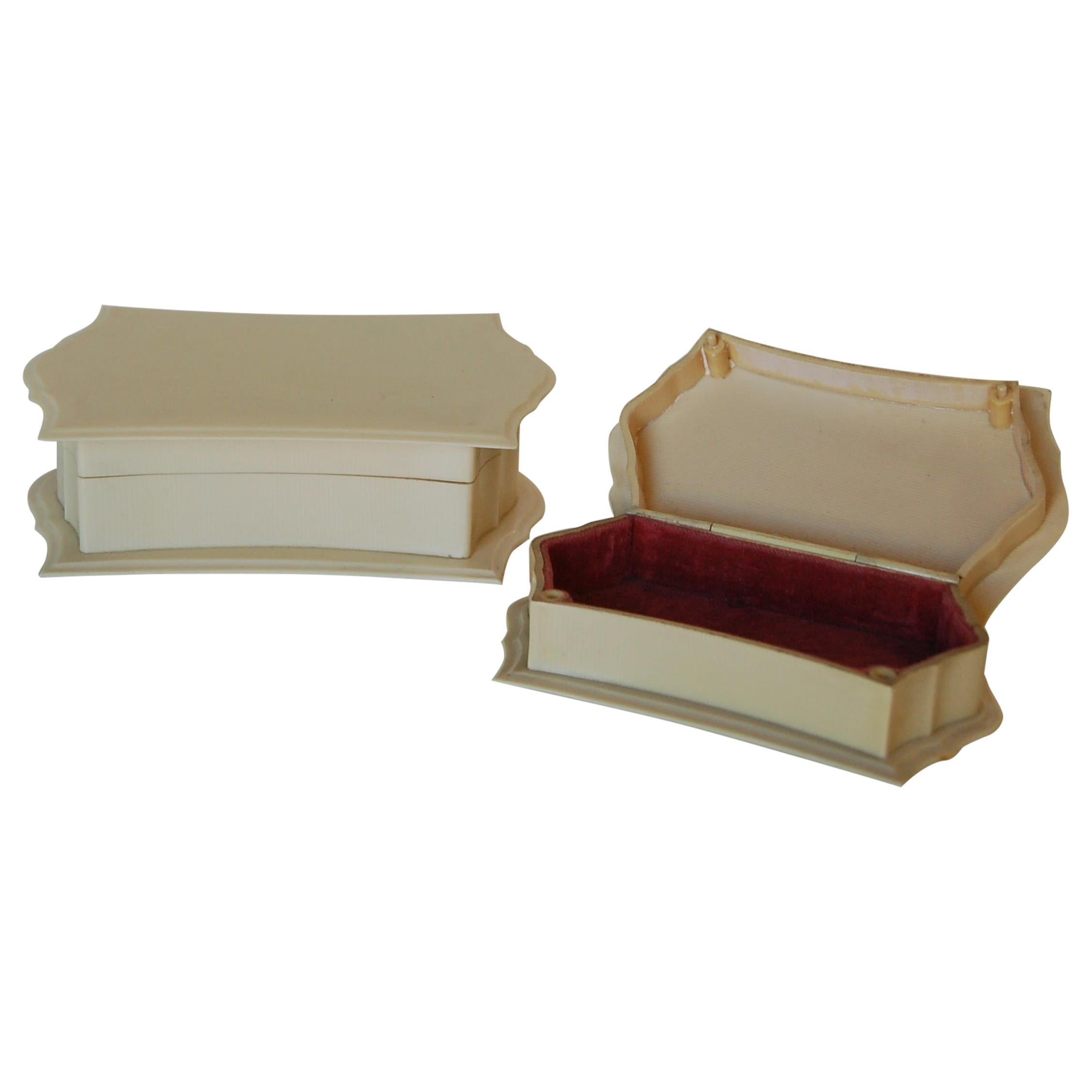 Art Deco French Ivory 'Celluloid' Vanity Jewelry Box Set Pyralin Du Barry