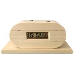 Art Deco French Ivory Tele-Vision Clock Corp Flip Clock, circa 1930s