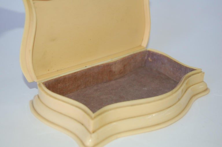 Bakelite Art Deco French Ivory 'Celluloid' Vanity Jewelry Box For Sale