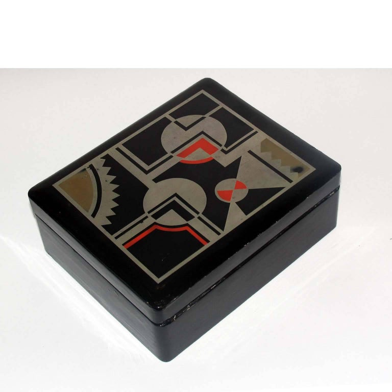 Mid-20th Century Art Deco French Lacquered Box, Jewelry Box, Geometric Decor For Sale