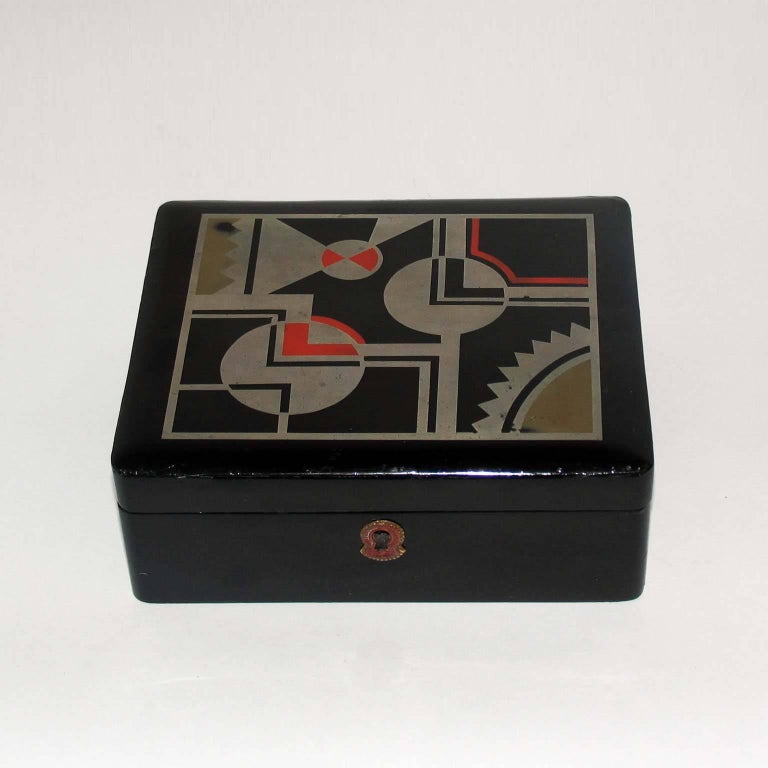 Wood Art Deco French Lacquered Box, Jewelry Box, Geometric Decor For Sale