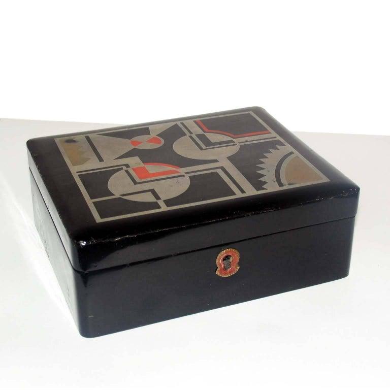 Art Deco French Lacquered Box, Jewelry Box, Geometric Decor For Sale 1