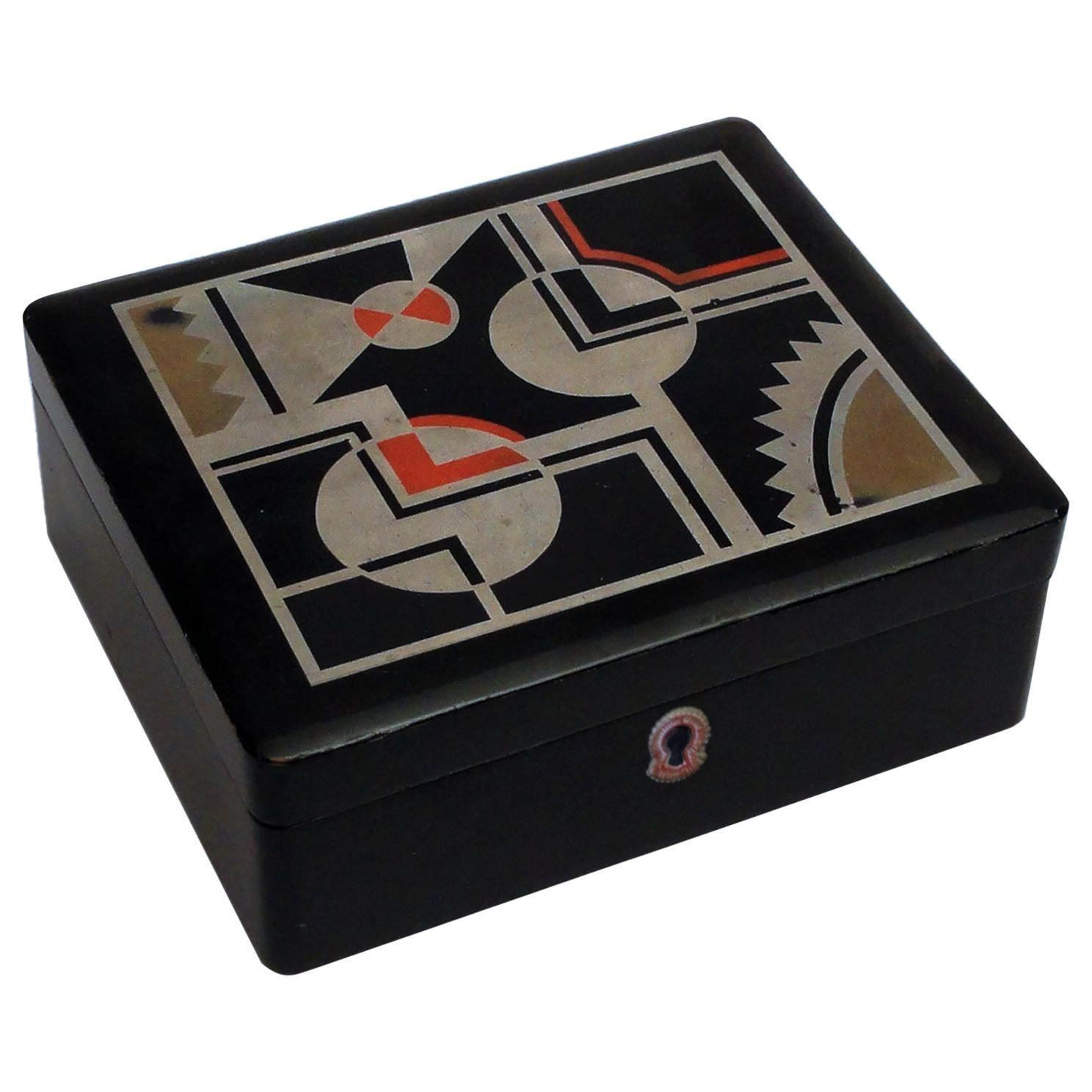 Art Deco French Lacquered Box, Jewelry Box, Geometric Decor