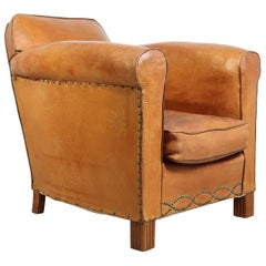 Art Deco French Leather Club Chair, 1930