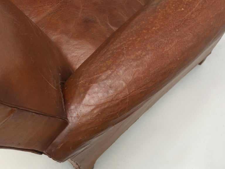 Art Deco French Leather Club Chairs, Still in Their Original Leather For Sale 6