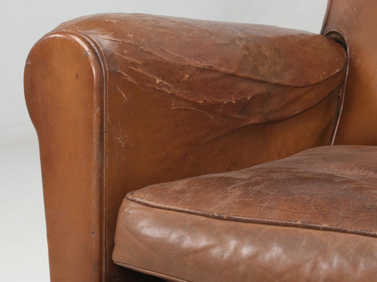 Art Deco French Leather Club Chairs, Still in Their Original Leather For Sale 7