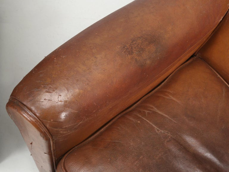 Art Deco French Leather Club Chairs, Still in Their Original Leather For Sale 9