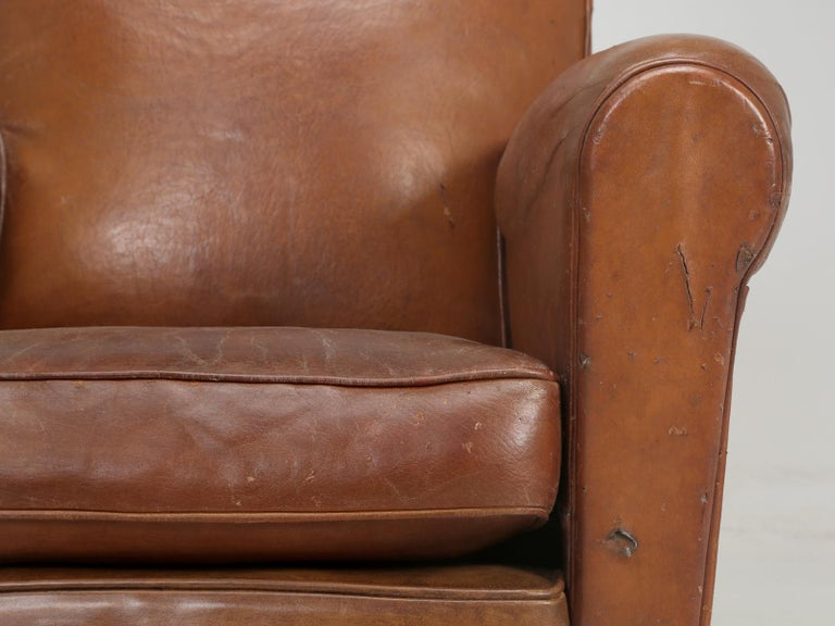 Art Deco French Leather Club Chairs, Still in Their Original Leather For Sale 10