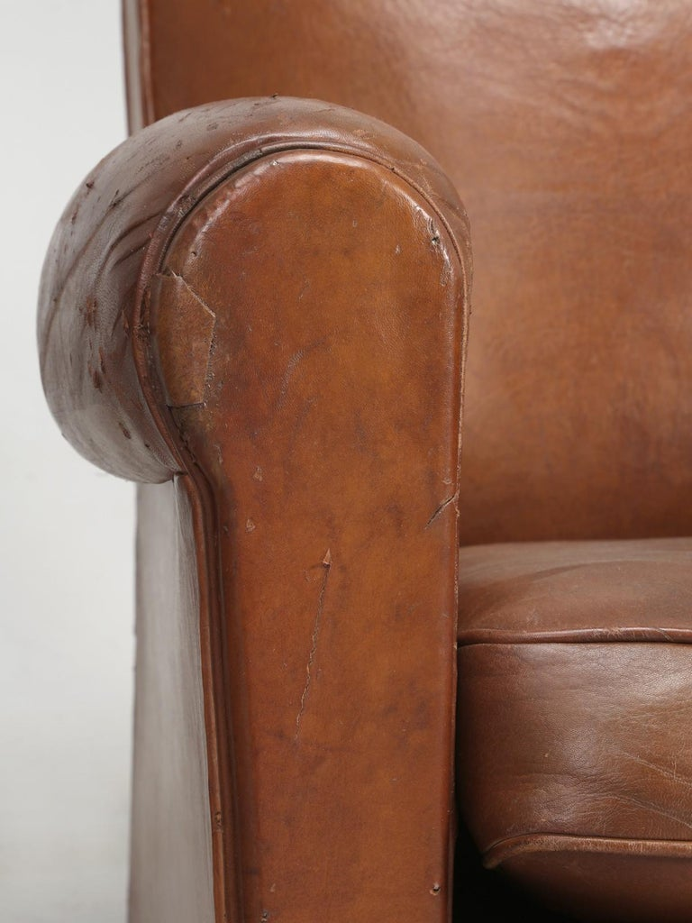 Art Deco French Leather Club Chairs, Still in Their Original Leather For Sale 11