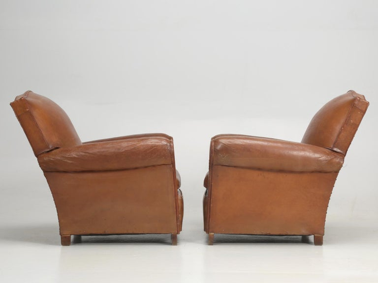 Art Deco French Leather Club Chairs, Still in Their Original Leather For Sale 13