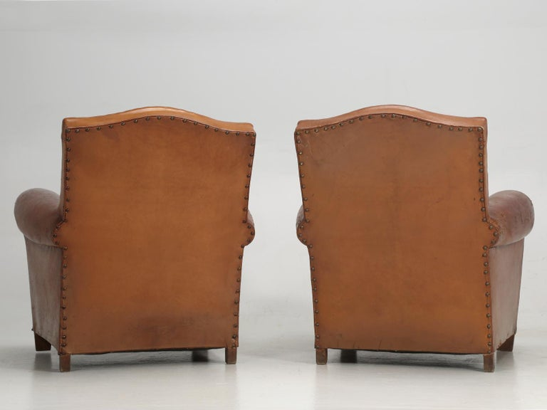 Art Deco French Leather Club Chairs, Still in Their Original Leather For Sale 14