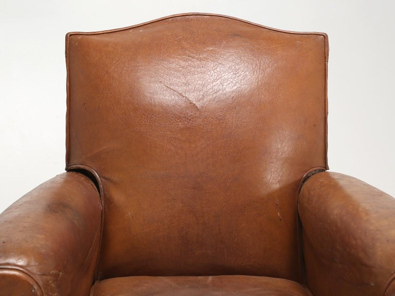 Art Deco French Leather Club Chairs, Still in Their Original Leather In Good Condition For Sale In Chicago, IL