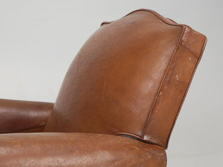 Mid-20th Century Art Deco French Leather Club Chairs, Still in Their Original Leather For Sale