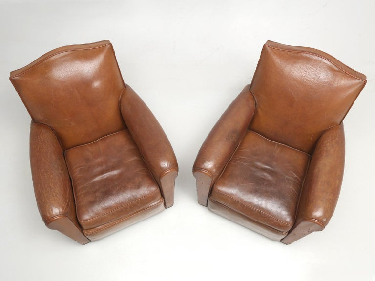 Art Deco French Leather Club Chairs, Still in Their Original Leather For Sale 1