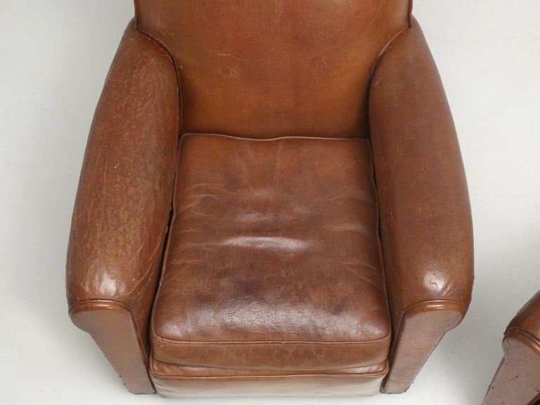 Art Deco French Leather Club Chairs, Still in Their Original Leather For Sale 2