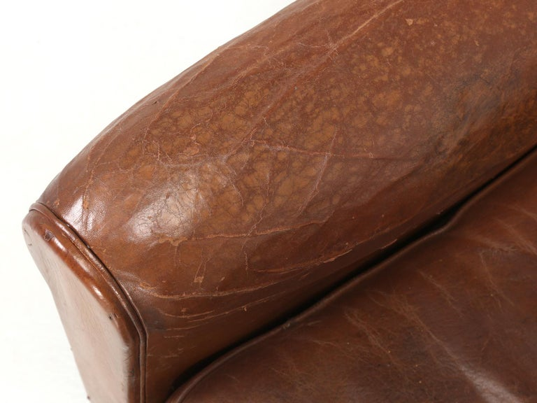Art Deco French Leather Club Chairs, Still in Their Original Leather For Sale 5