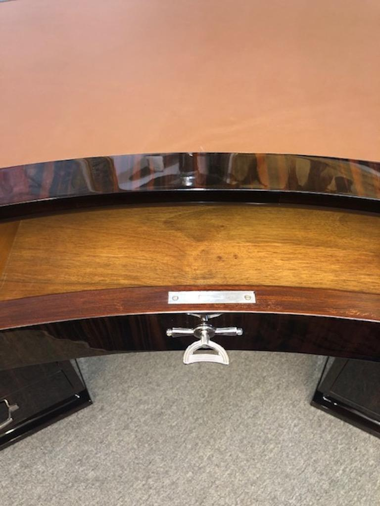 Leather Art Deco French Macassar Desk For Sale