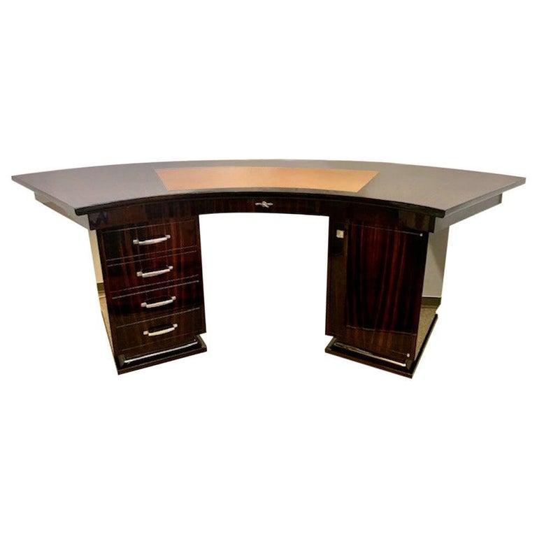 Art Deco French Macassar Desk For Sale