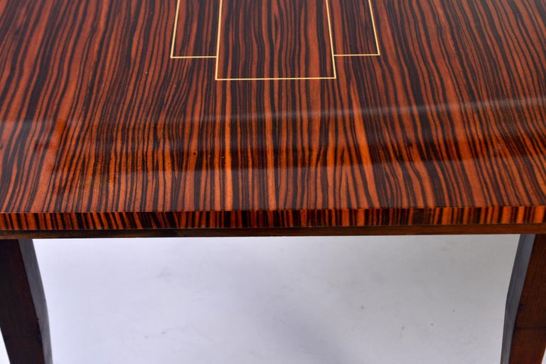 Art Deco French Macassar Dining Table with Tapered Legs and Brass Feet For Sale 7