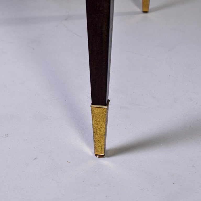 Art Deco French Macassar Dining Table with Tapered Legs and Brass Feet For Sale 8