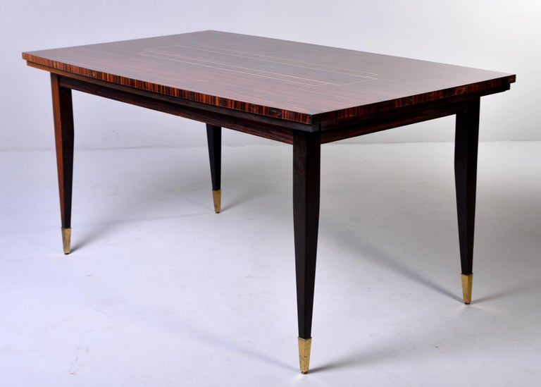 Mid-20th Century Art Deco French Macassar Dining Table with Tapered Legs and Brass Feet For Sale
