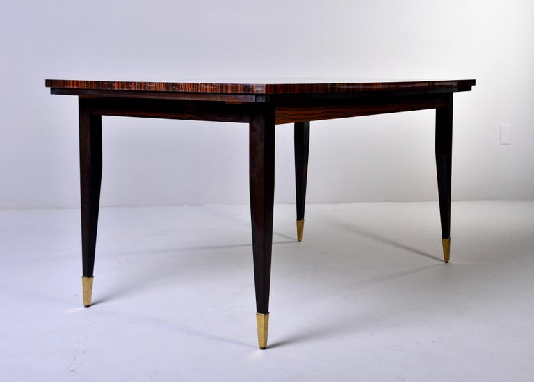 Art Deco French Macassar Dining Table with Tapered Legs and Brass Feet For Sale 1