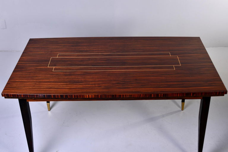 Art Deco French Macassar Dining Table with Tapered Legs and Brass Feet For Sale 2