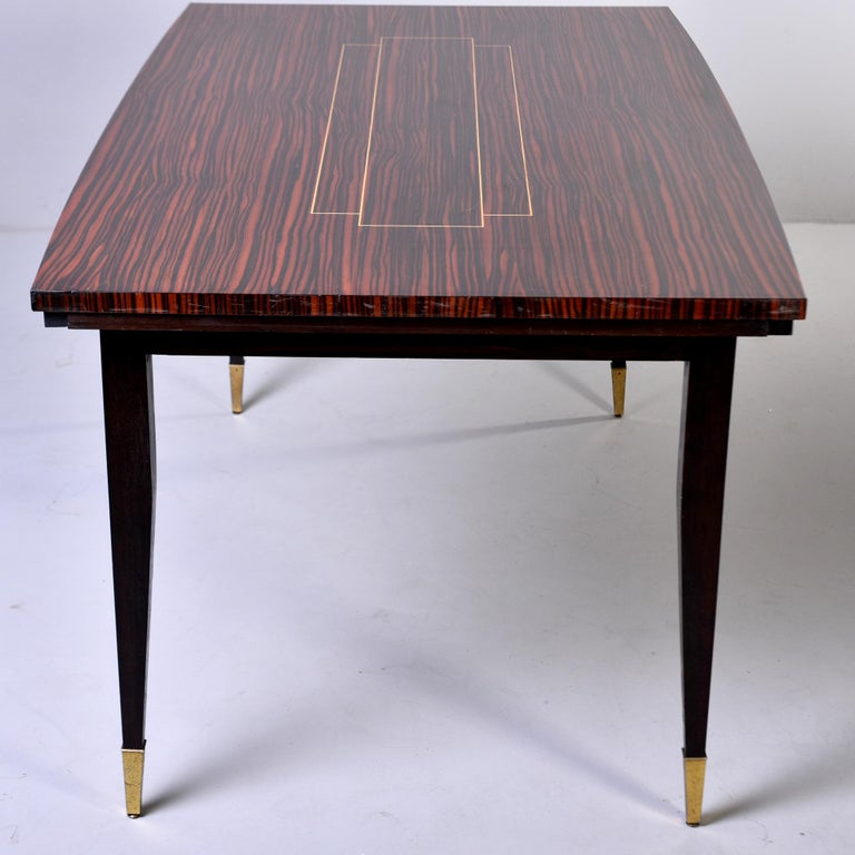 Art Deco French Macassar Dining Table with Tapered Legs and Brass Feet For Sale 4