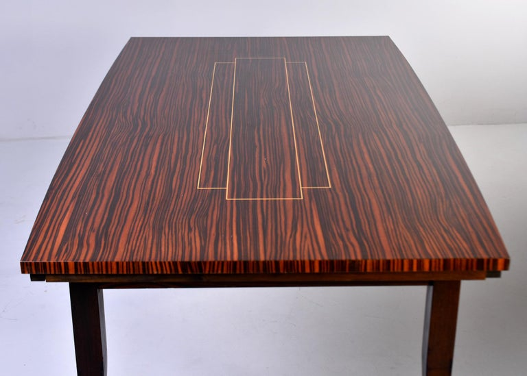 Art Deco French Macassar Dining Table with Tapered Legs and Brass Feet For Sale 5
