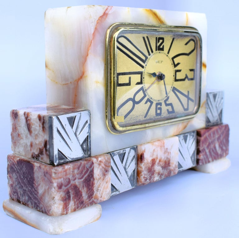 Art Deco French Marble Clock by Dep, circa 1930s In Good Condition For Sale In Devon, England