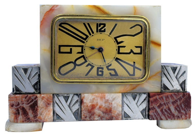 Art Deco French Marble Clock by Dep, circa 1930s For Sale 1
