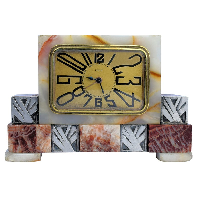 Art Deco French Marble Clock by Dep, circa 1930s For Sale