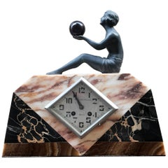 Art Deco French Marble Desk Clock, circa 1920s by Pronost Freres
