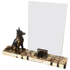 Art Deco French Marble Photo Picture Frame with Alsatian Dog