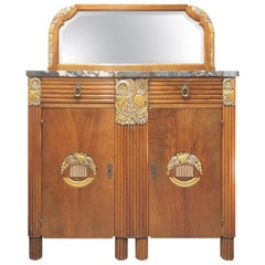 Art Deco French Marble-Top Walnut Sideboard