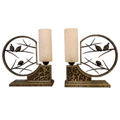 Art Deco French Michel Zadounaisky Table Lamps, a Pair, circa 1930s