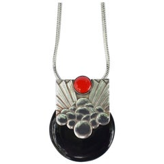 Art Deco French Modernist Pendant Necklace