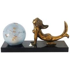 Art Deco French Mood Lamp of Mermaid on Marble Base