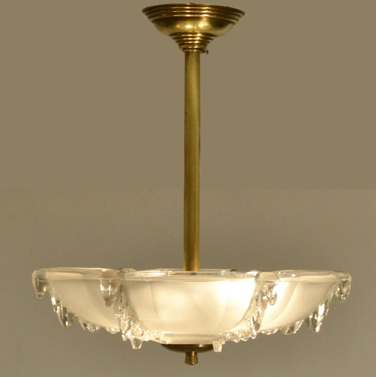 Early 20th Century Art Deco French Glass Flush Mount Pendant Lamp For Sale