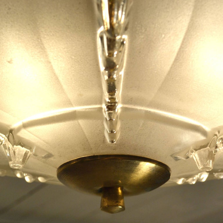 Blown Glass Art Deco French Glass Flush Mount Pendant Lamp For Sale