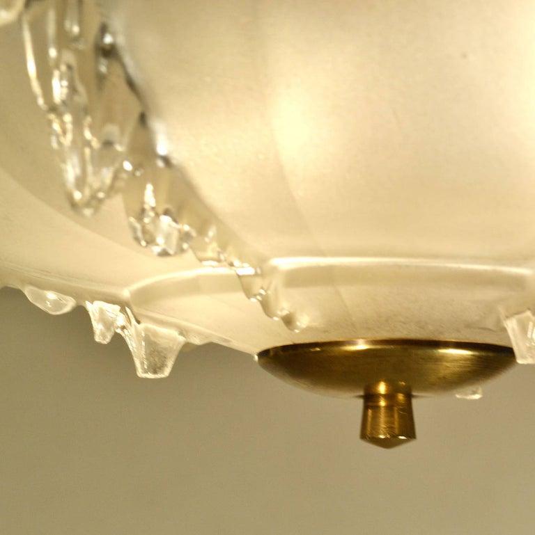 Art Deco French Glass Flush Mount Pendant Lamp For Sale 2