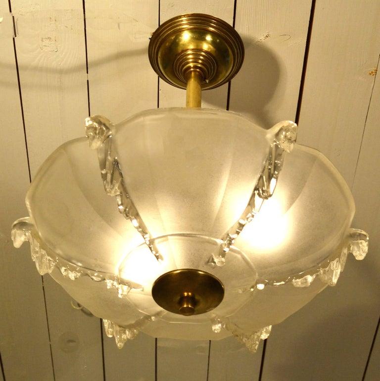 Art Deco French Glass Flush Mount Pendant Lamp For Sale 4