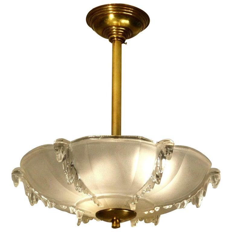 Art Deco French Glass Flush Mount Pendant Lamp For Sale