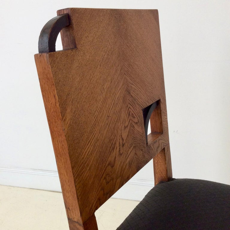 Art Deco French Oak Chair, circa 1930 In Good Condition For Sale In Brussels, BE