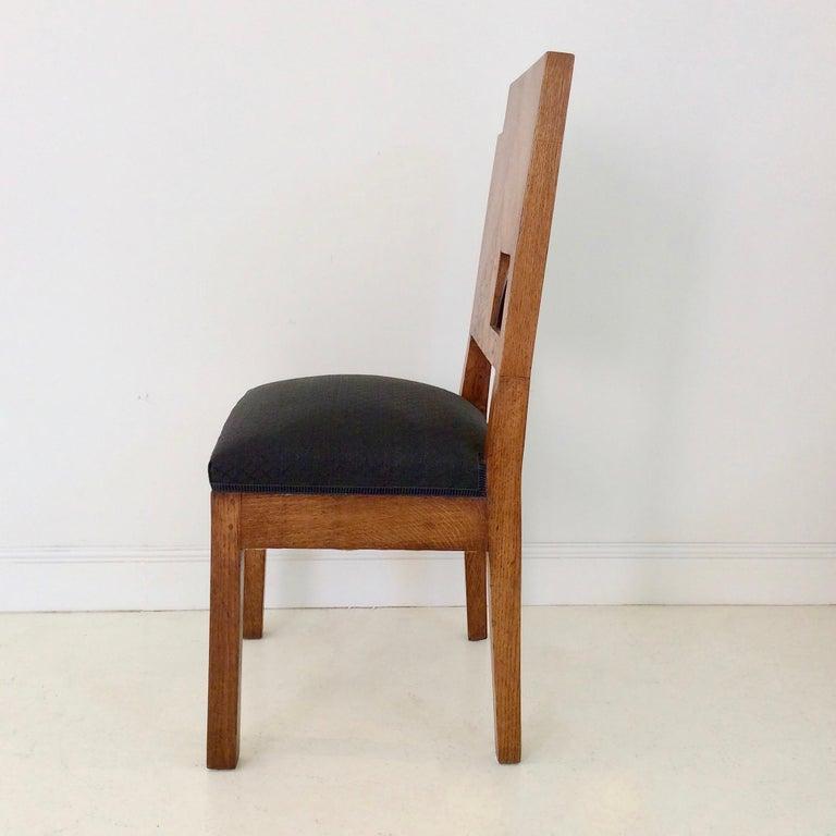 Art Deco French Oak Chair, circa 1930 For Sale 4