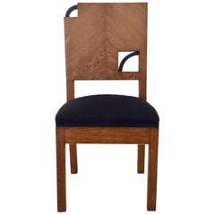 Art Deco French Oak Chair, circa 1930