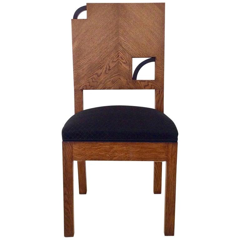 Art Deco French Oak Chair, circa 1930 For Sale