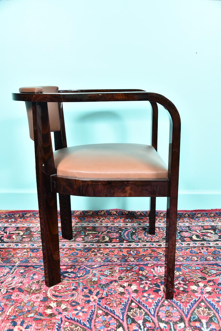 Mid-20th Century Art Deco French Office Chair in Macassar Wood For Sale